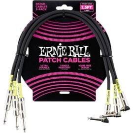 ERNIE BALL 1.5 FEET BLACK RIGHT ANGLED PATCH CABLE 3 PACK - 6076